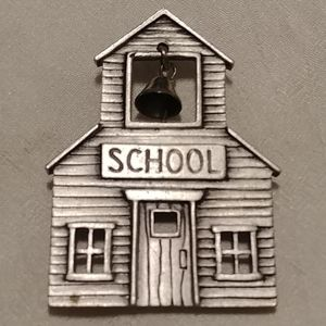 🌺2/$25 or 5/$50 School house brooch signed JJ